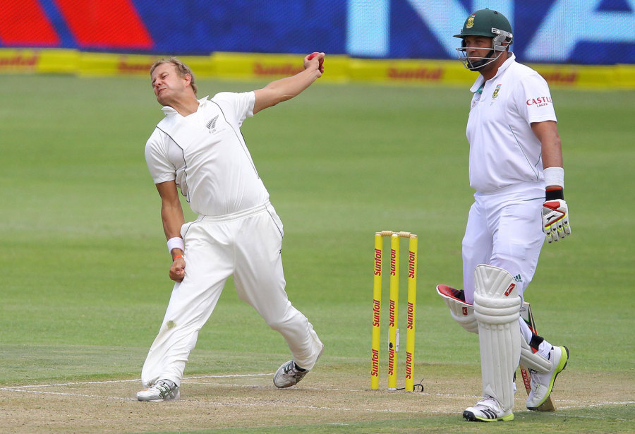 Lack of opportunities at the top level forced Neil Wagner to move to New Zealand. Here, he bowls against the country of his birth in a Test