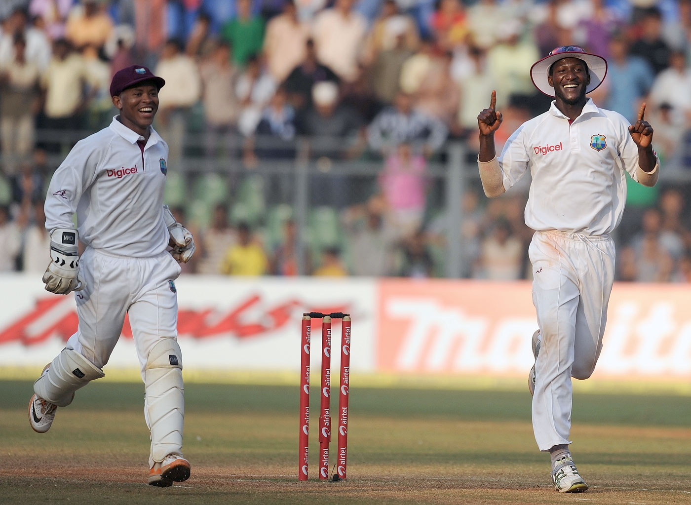 Darren Sammy is happy after saving the Test off the final ball, India v West Indies, 3rd Test, Mumbai, 5th day, November 26, 2011