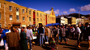 The Salamanca markets on a Saturday morning with a view of Mount Wellington