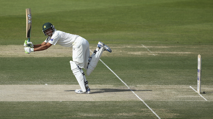 Younis Khan flicks the ball along the crease