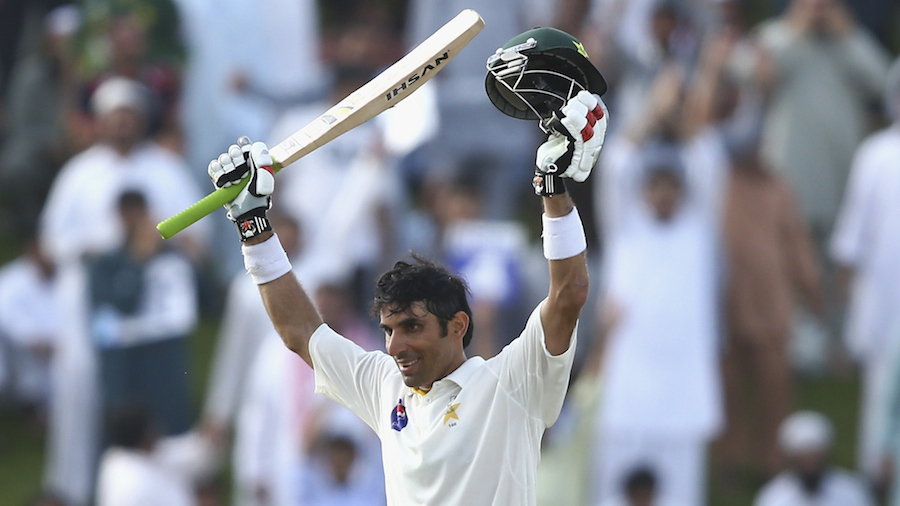 Misbah-ul-Haq acknowledges the crowd after his hundred