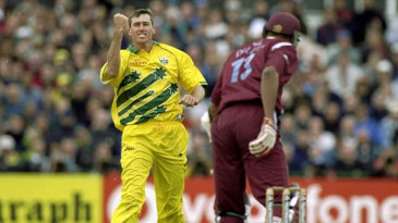 Glenn McGrath is ecstatic after claiming a wicket