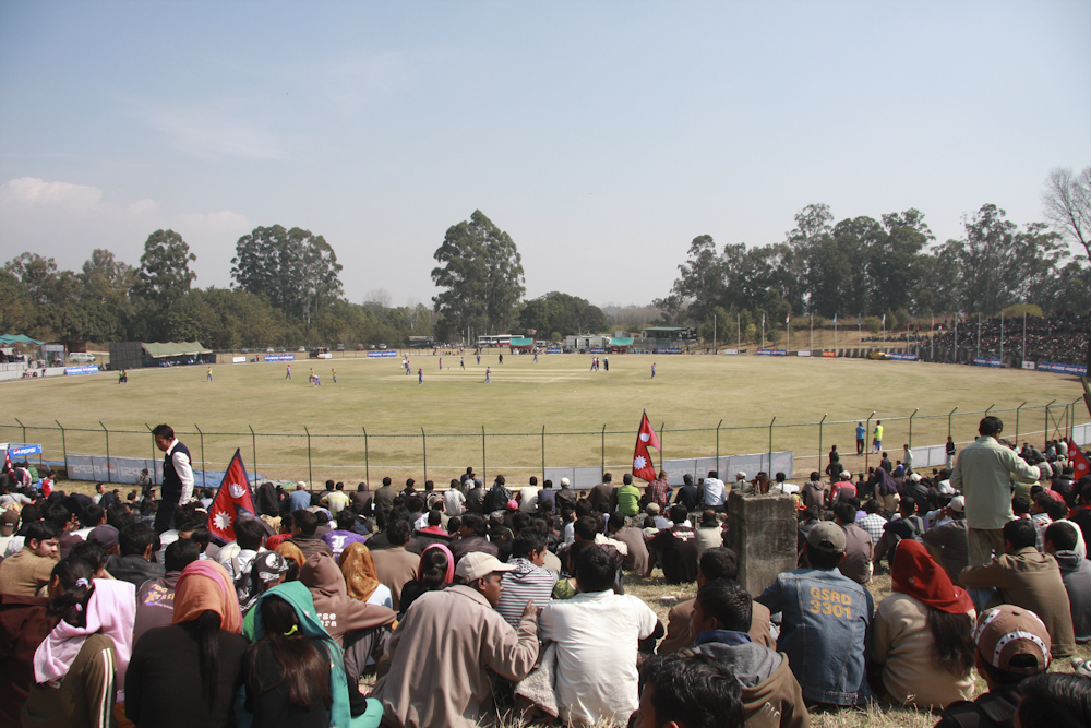 Spectators turn out for a Nepal v USA game
