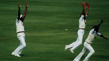 Clive Lloyd, Jeff Dujon and Viv Richards go up in appeal