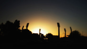The sun sets over the WACA