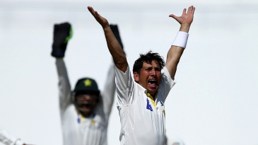 Yasir Shah pleads with the umpire