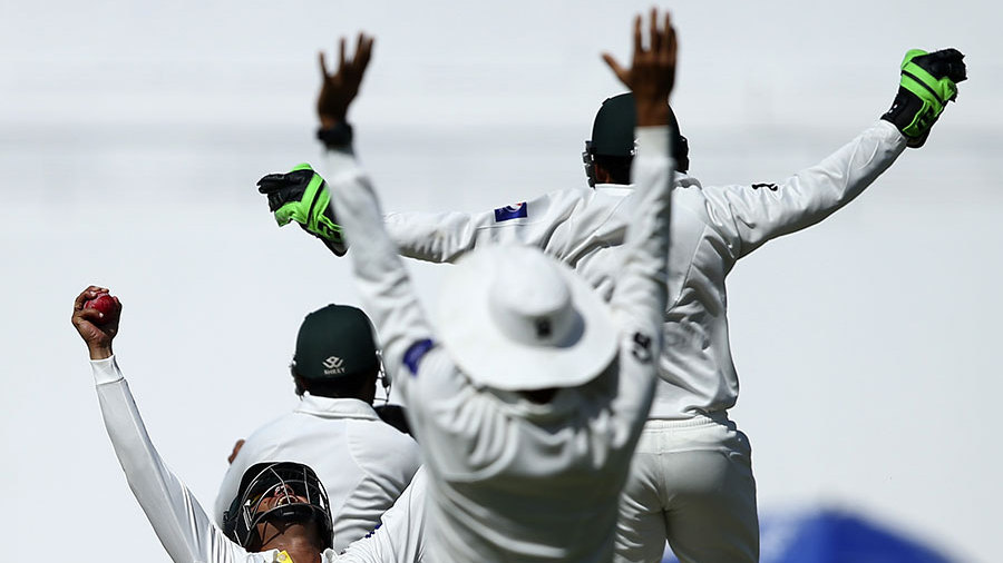 Victory celebrations begin after Azhar Ali catches Nathan Lyon at silly point