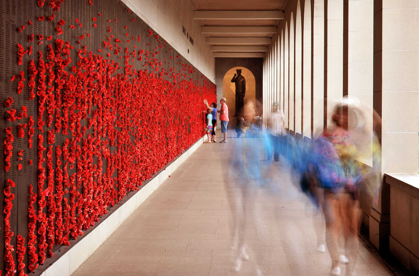 Poppies placed in remembrance of Australians who lost their lives in World War I, at the War Memorial