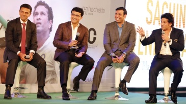 Rahul Dravid, Sourav Ganguly and VVS Laxman at the launch of Sachin Tendulkar's autobiography