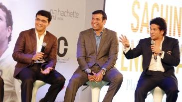 Rahul Dravid, Sourav Ganguly and VVS Laxman at the launch of Sachin Tendulkar's autobiography