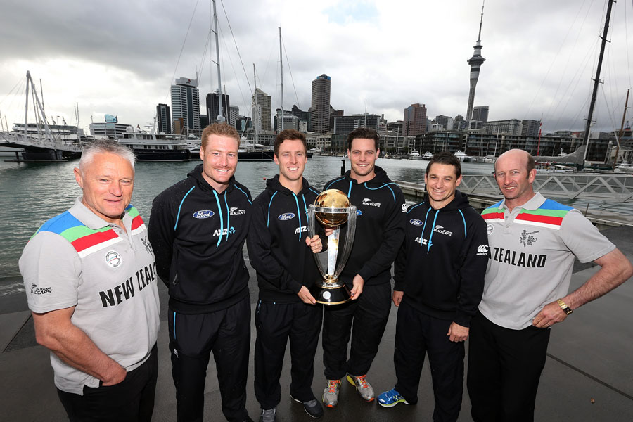 The history boys: Gavin Larsen (far left) and Chris Harris flank members of the current squad at a World Cup promo photo op in Auckland