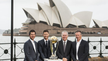 Ricky Ponting, Michael Clarke, Allan Border and Steve Waugh with the World Cup trophy
