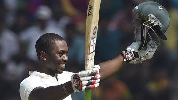 Regis Chakabva celebrates his maiden Test century