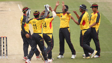 Papua New Guinea celebrate a wicket