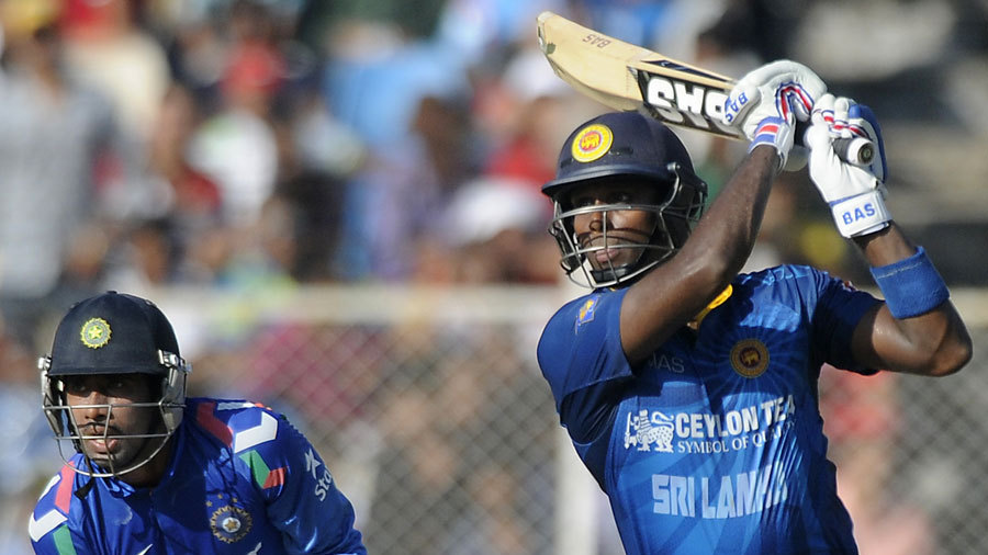 Angelo Mathews hits out during his unbeaten 92