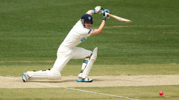 Nick Larkin drives on his way to a maiden first-class fifty