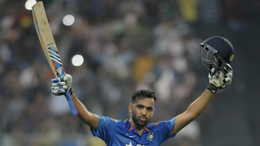 Rohit Sharma acknowledges the crowd after reaching his second double-hundred