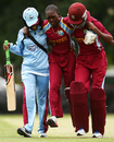 Shemaine Campbelle is carried off after an injury, Australia v West Indies, Women's Championship, Bowral, November 16, 2014