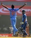 Dhawal Kulkarni celebrates the wicket of Niroshan Dickwella, India v Sri Lanka, 5th ODI, Ranchi, November 16, 2014