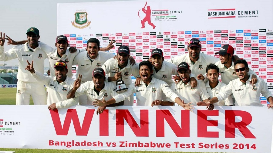The victorious Bangladesh team after completing a 3-0 whitewash