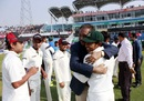 Mushfiqur Rahim gets a hug from BCB president Nazmul Hassan, Bangladesh v Zimbabwe, 3rd Test, Chittagong, 5th day, November 16, 2014