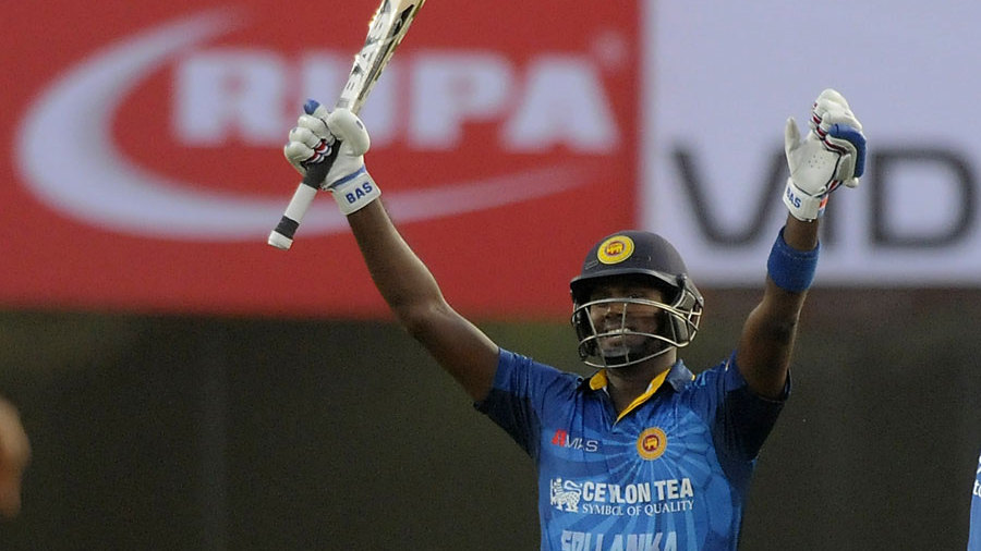 Angelo Mathews raises his maiden ODI century