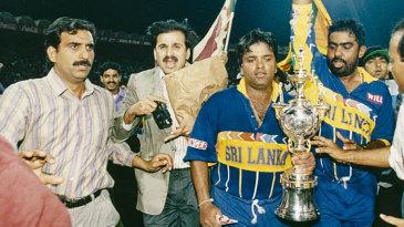 Arjuna Ranatunga and Asanka Gurusinha celebrate after winning the World Cup