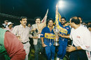 Arjuna Ranatunga and Asanka Gurusinha celebrate after winning the World Cup, Australia v Sri Lanka, World Cup 1996, final, Lahore, March 17, 1996