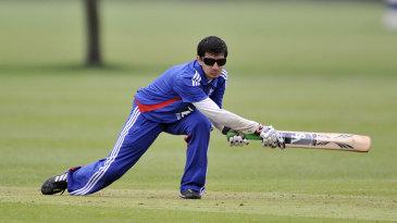 England blind player Mahomed Khatri plays a shot