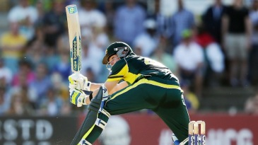Steven Smith moves outside off and flicks between his legs