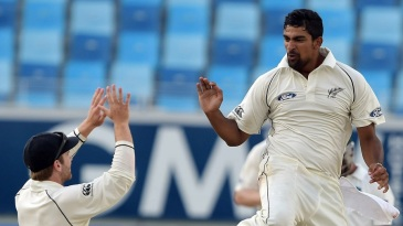 Ish Sodhi leaps in celebration after getting rid of Azhar Ali for 75