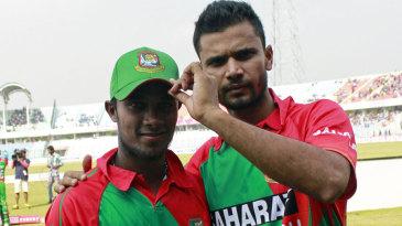 Sabbir Rahman, who made his ODI debut, with Mashrafe Mortaza