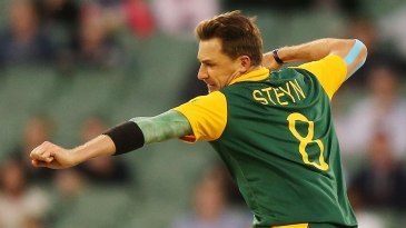Dale Steyn is pumped after a wicket