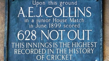 A memorial at Clifton College marking AEJ Collins' record innings