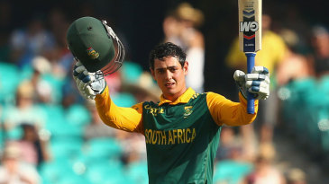 Quinton de Kock raises his sixth ODI century