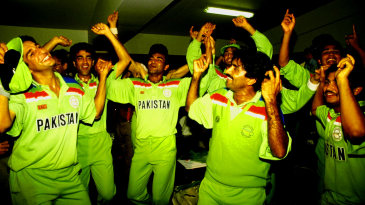 Pakistan's cricketers celebrate the victory