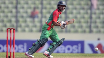 Anamul Haque taps the ball on the off side