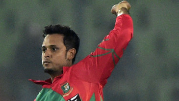 Left-arm spinner Arafat Sunny is thrilled after taking a wicket