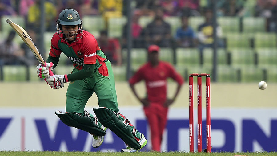 Mushfiqur Rahim clips the ball into the leg side