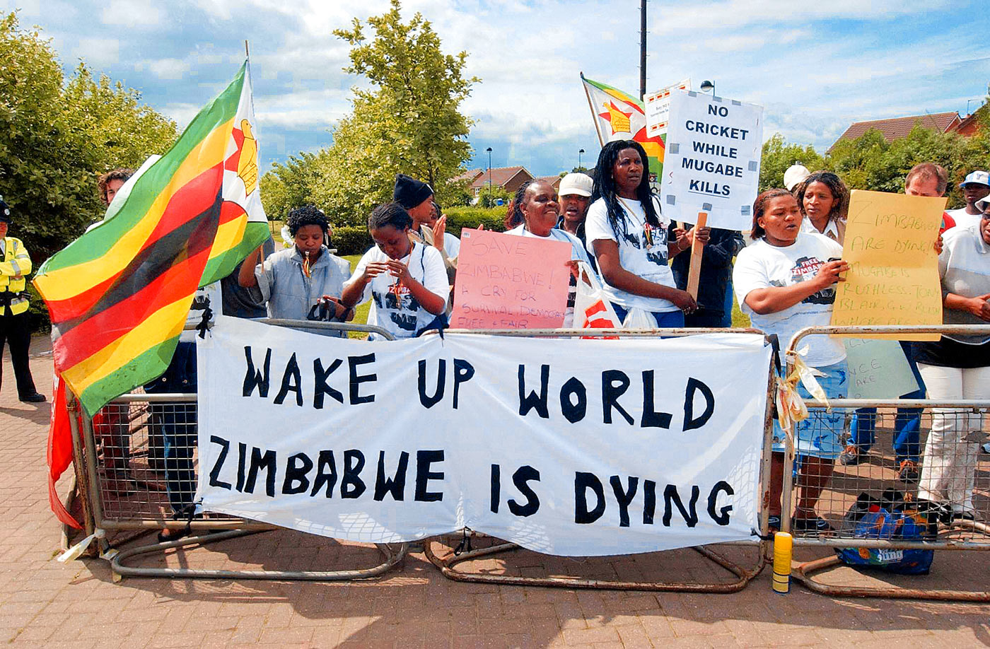Protesters call attention to the political situation in Zimbabwe during the team's Test in Durham in 2003