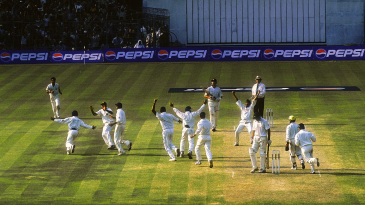 India celebrate the ninth wicket