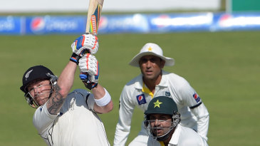 Brendon McCullum reached 200 with a six