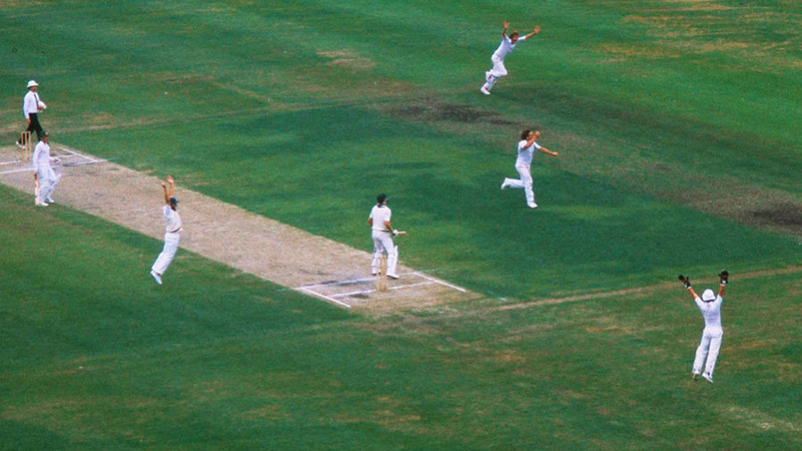 Ian Botham gets Jeff Thomson with three runs to go