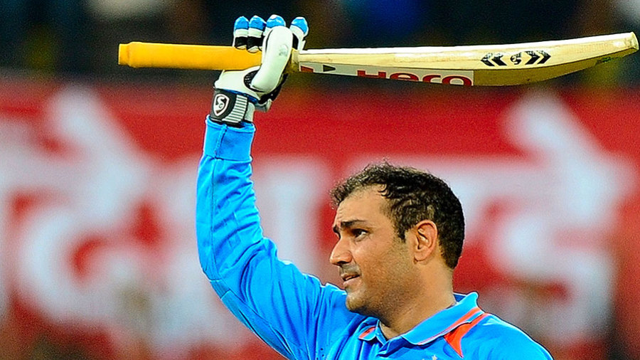 Virender Sehwag celebrates his record-breaking double-hundred
