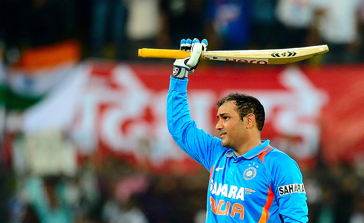 Virender Sehwag celebrates his record-breaking double-hundred, India v West Indies, 4th ODI, Indore, December 8, 2011