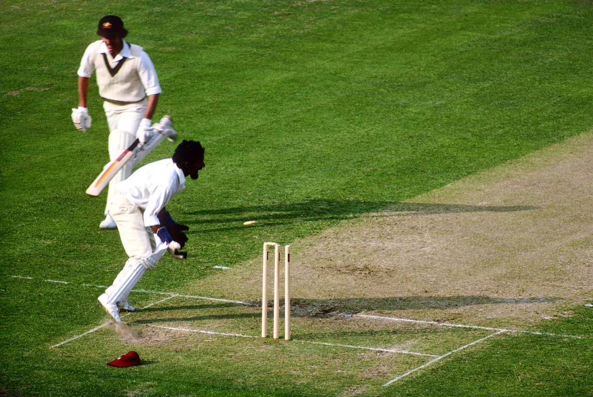 Greg Chappell is run-out for 15 after a direct hit from Viv Richards