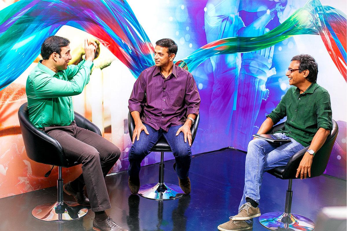 VVS Laxman and Rahul Dravid with Sambit Bal