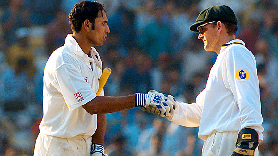 Adam Gilchrist was the first to congratulate Laxman after he got to his double-hundred