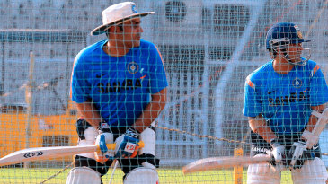 Virender Sehwag, Sachin Tendulkar and Rahul Dravid at a nets session
