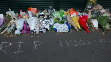 A memorial for Phillip Hughes outside the SCG
